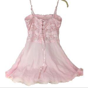Ballerina Pastel Pink Nighty Lace Up Corset Dress